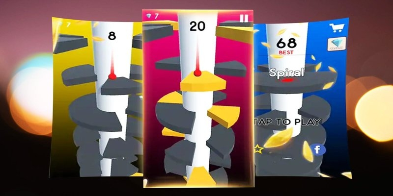 Juegos de rompecabezas como Helix Jump